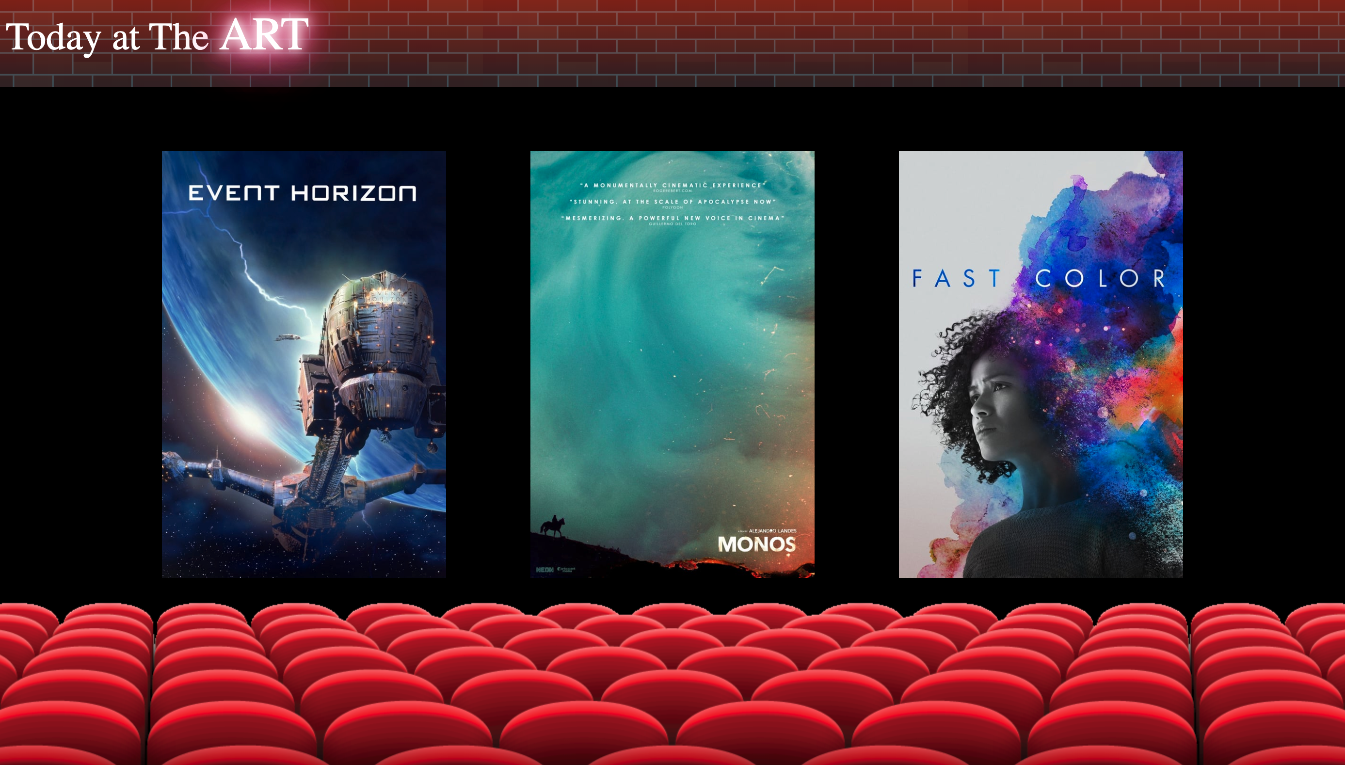 UI with movie chairs and posters