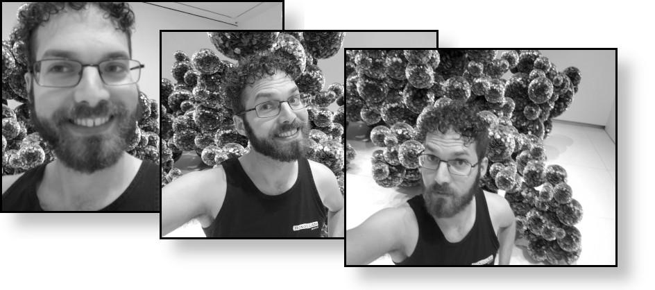 Grayscale versions of my selfies.